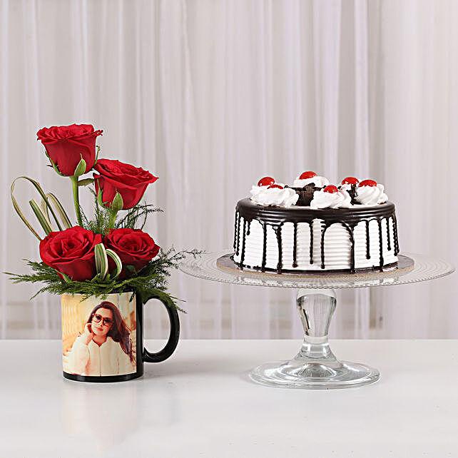 Red Roses Mug & Black Forest Cake Combo:
