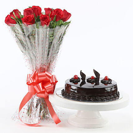 Red Roses With Truffle Cake Birthday Gifts For Husband