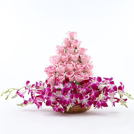 Roses And Orchids Basket Arrangement: Send Orchids