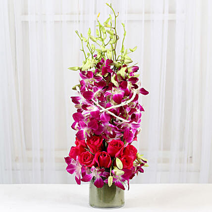 Roses And Orchids Vase Arrangement: Birthday Gifts to Udupi