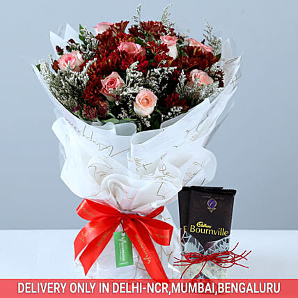 Roses & Chrysanthemums Bouquet With Bournville: Send Chrysanthemums