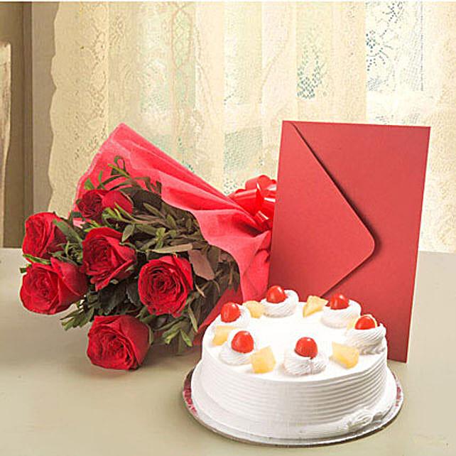 Roses N Cake Hamper: Flower N Greeting Card