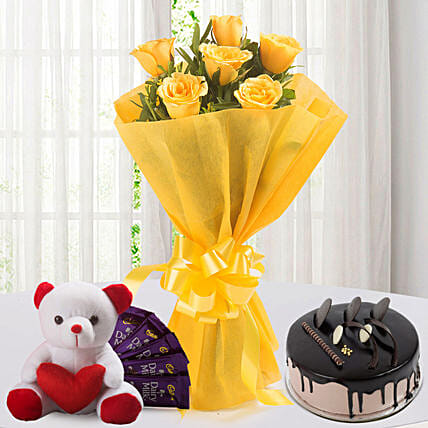 Roses N Choco Hamper: Send Flowers and Chocolates