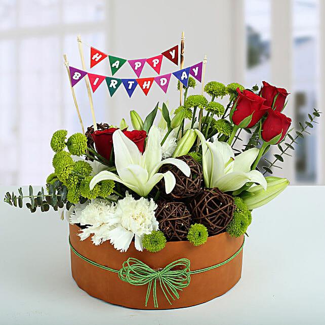 Roses N Lilies Vibrant Arrangement: Send Chrysanthemums