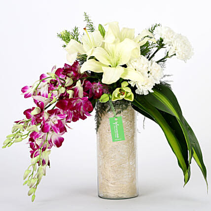 Orchids & Carnations Vase Arrangement: Gifts to Haridwar