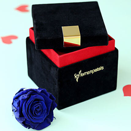 Royal Forever Blue Rose In Velvet Box Gifts For Husband