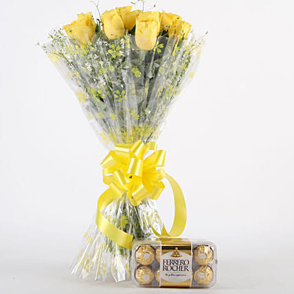 Royal Retreat- Yellow Roses & Ferrero Rochers: Flowers with Chocolates