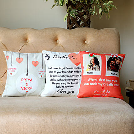 Set Of 3 Personalised Love Message Cushions: Miss You Gifts