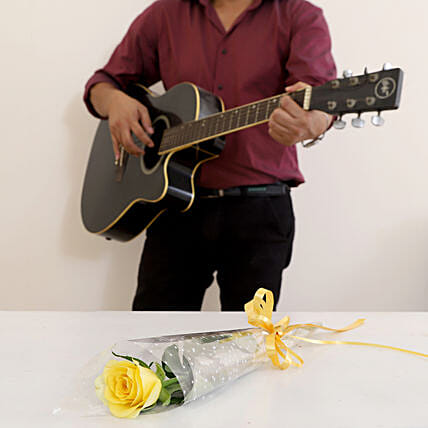 Single Yellow Rose Musical Combo: