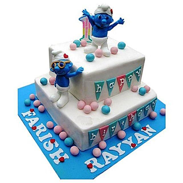 Smurfs Birthday Cake Multi Tier Cakes