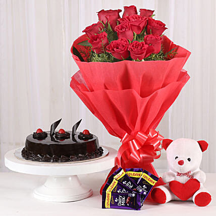Roses with Teddy Bear, Dairy Milk & Truffle Cake: Hug Day Gifts