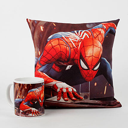 Spiderman Printed Cushion & Mug Combo: Coffee Mugs
