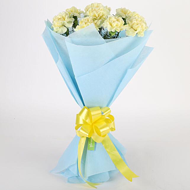 Sundripped Yellow Carnations Bouquet: Send Flowers