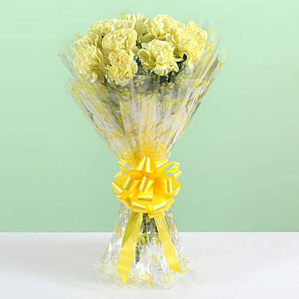 Sunny Bunch- 12 Yellow Carnations Bouquet: Flowers for Anniversary