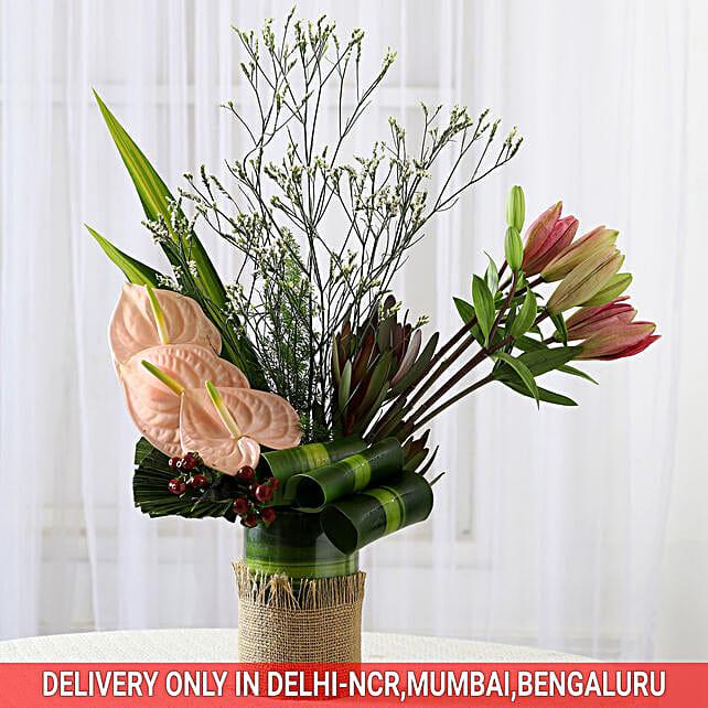 Sunset Safari- Mixed Flowers Arrangement: Anthuriums