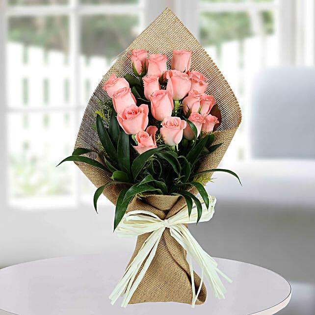 Sweet Pink Roses Bunch: Diwali Flowers