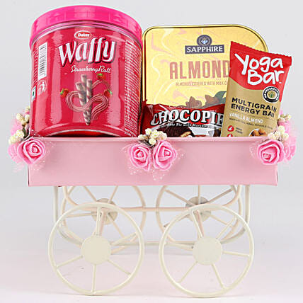 Sweet & Savoury Hamper In Pink Handcart: Send Gift Hampers