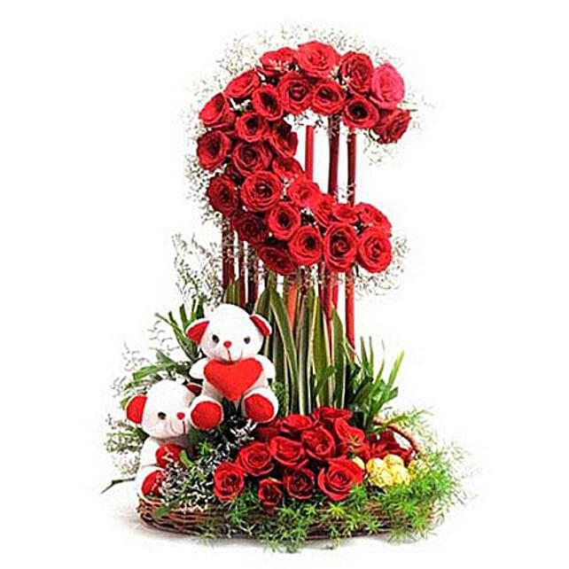Red Roses Moon Arrangement: Fresh Flower Arrangement