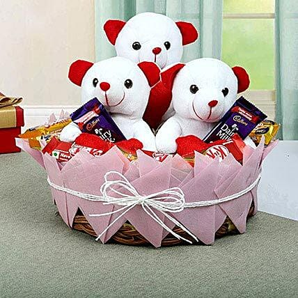Teddy and Chocolate Basket: Send Soft Toys