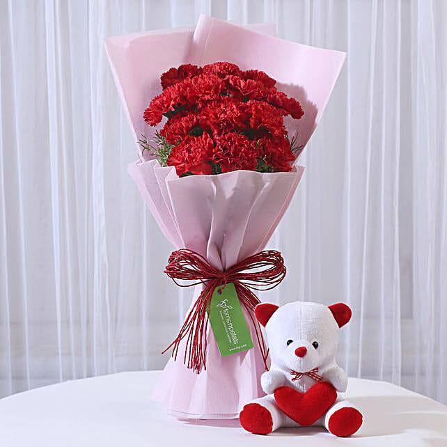 Teddy Bear & 12 Red Carnations Bouquet Combo: Flowers & Teddy Bears