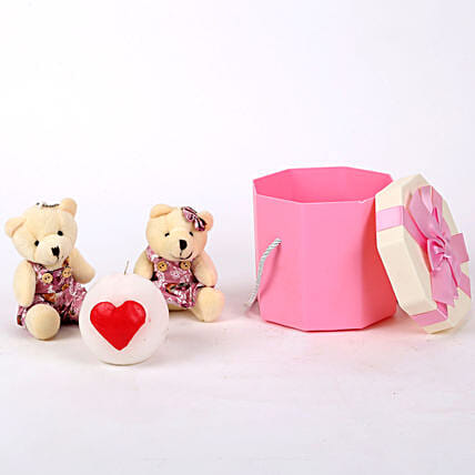 Teddy Bears & Ball Candles in Pink Box: Soft toys for birthday