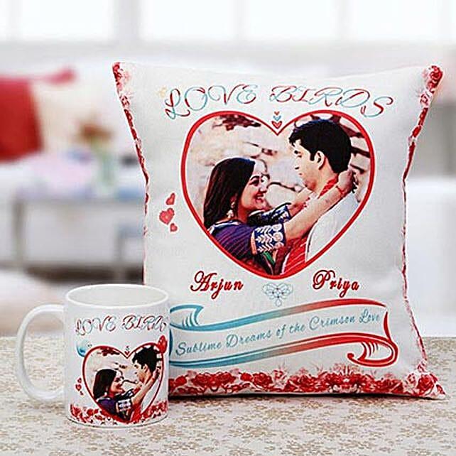 Love Birds Personalised Cuhsion & Mug Combo: Cushions and Mugs Combo