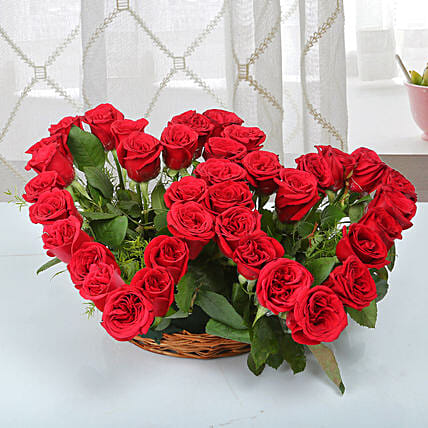 Two Red Hearts As One Basket Arrangement: Gifts for Wedding