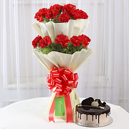 Two Layer Red Carnations Bouquet & Chocolate Cake Combo: Cakes Combo