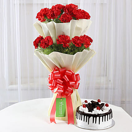 Two Layer Red Carnations With Black Forest Cake: Gift Combos