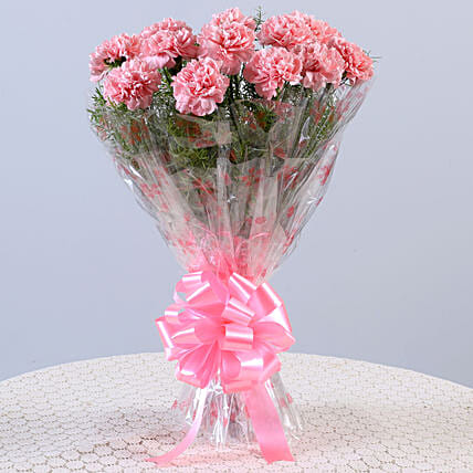 Unending Love-12 Light Pink Carnations Bouquet: Flower bouquets for anniversary