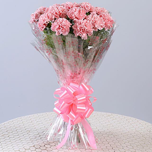 Unending Love-18 Light Pink Carnations Bouquet: Carnations