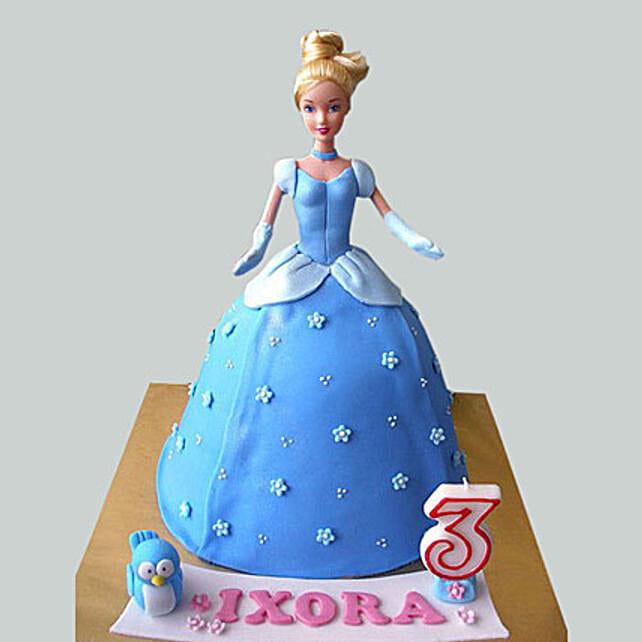 Blue Fondant Barbie Cake:
