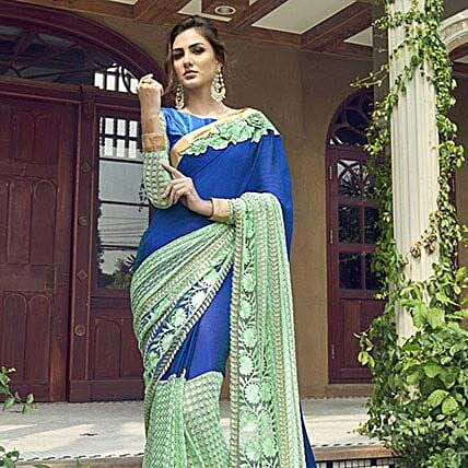 Blue Georgette Net Half n Half Embroidered Partywear Saree: Saree Gifts