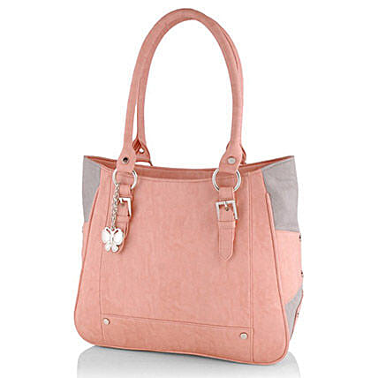 Butterflies Trendy Peach Handbag: Fashion Accessories
