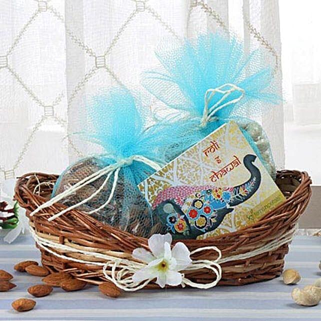 Cane Basket Of Dry Fruits: Send Bhai Dooj Gift Baskets