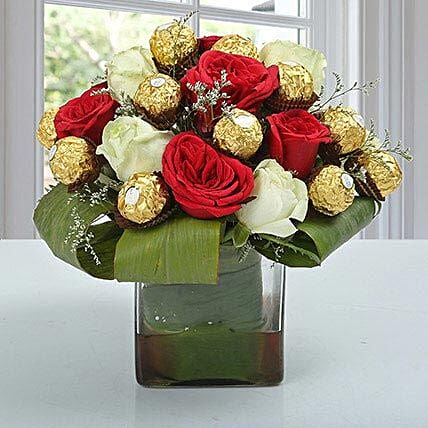 Roses & Ferrero Rocher in Glass Vase: Chocolates for Fathers Day
