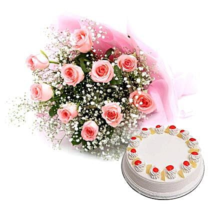 Flower and Cake Hamper: Send New Year Gifts