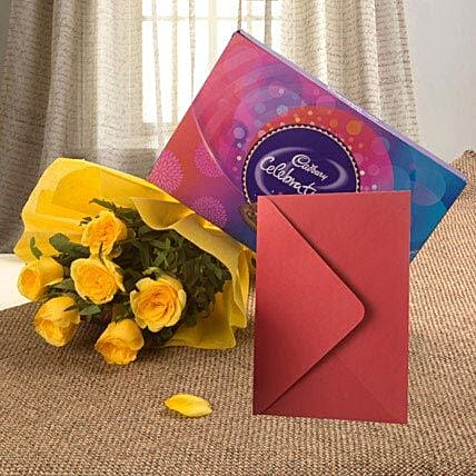 Flower Hamper N Greeting Card: Cadbury Chocolates