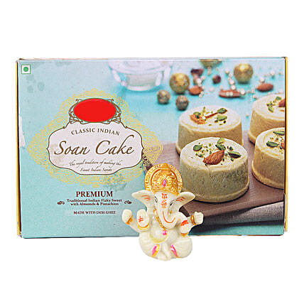 Ganesha Idol With Soan Cake: Send Handicraft Gifts for House Warming
