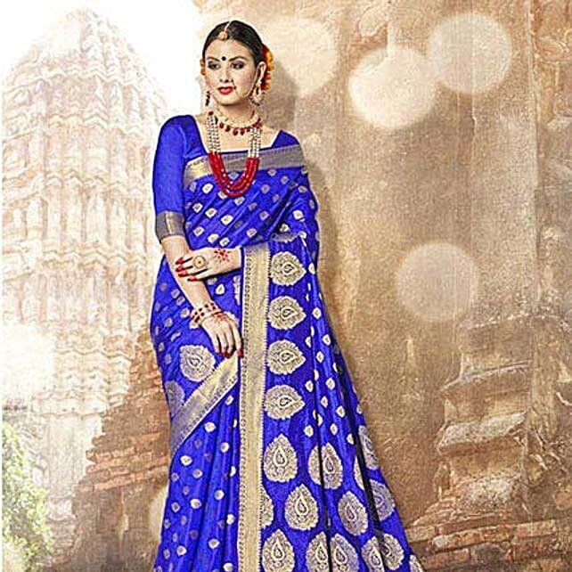 Gorgeous Blue Banarasi Silk Saree: Saree Gifts