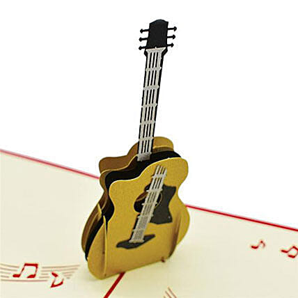 Handmade 3D Pop Up Guitar Greeting Card: Funny Gifts