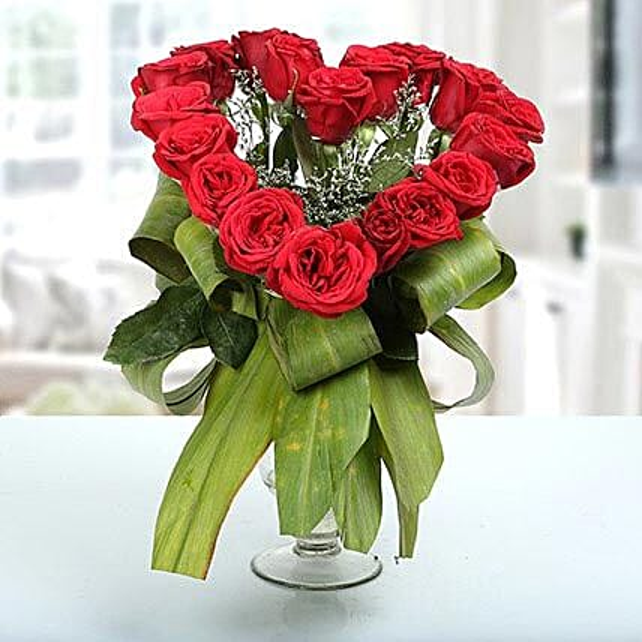 Heartshaped Vase Arrangement: Heart Shaped Flowers