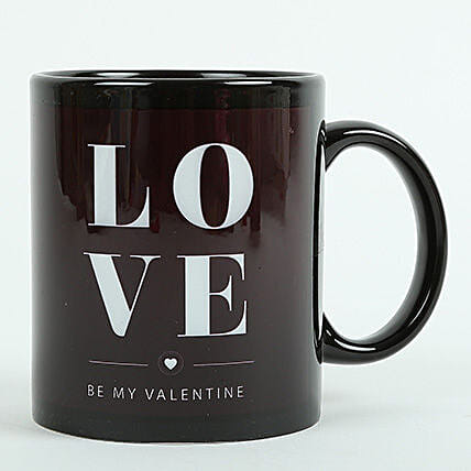 Love Ceramic Black Mug: Anniversary Gifts Bilaspur