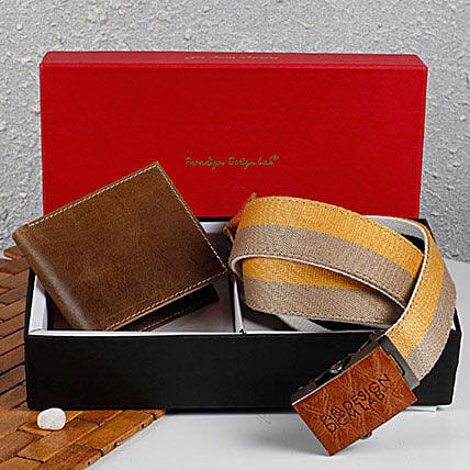 Paradigm Brown Wallet N Belt Combo: Accessories