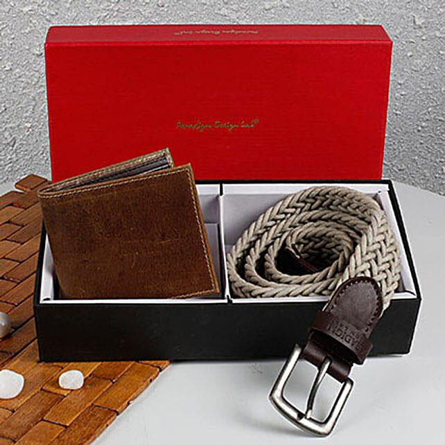 Paradigm Woven Belt N Wallet Combo: Diwali Gifts for Husband