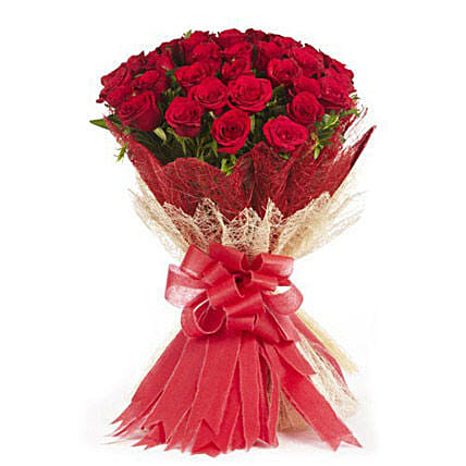 Passionate Love- 50 Velvety Red Roses Bunch: Gifts for Hug Day