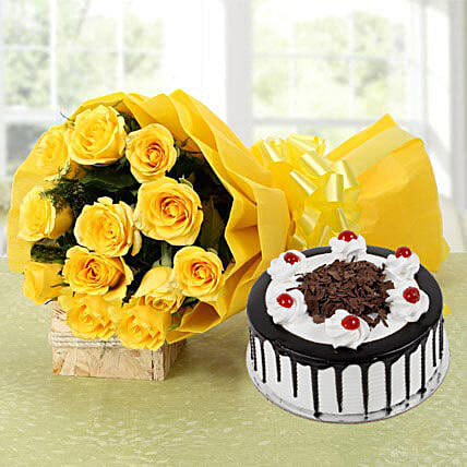 Yellow Roses Bouquet & Black Forest Cake: Gifts to Kalindipuram - Allahabad