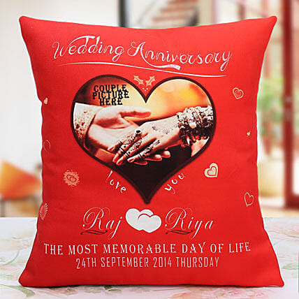 Personalized Anniversary Cushion: Send Anniversary Gifts for Husband