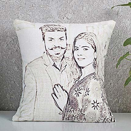 Personalized Couple Sketch Cushion: Send Caricatures