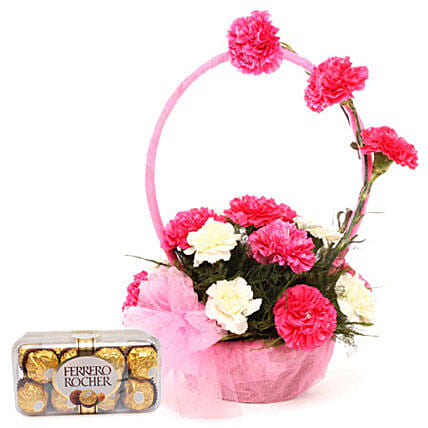 Pink N White Basket Of Flavours: Flower Basket